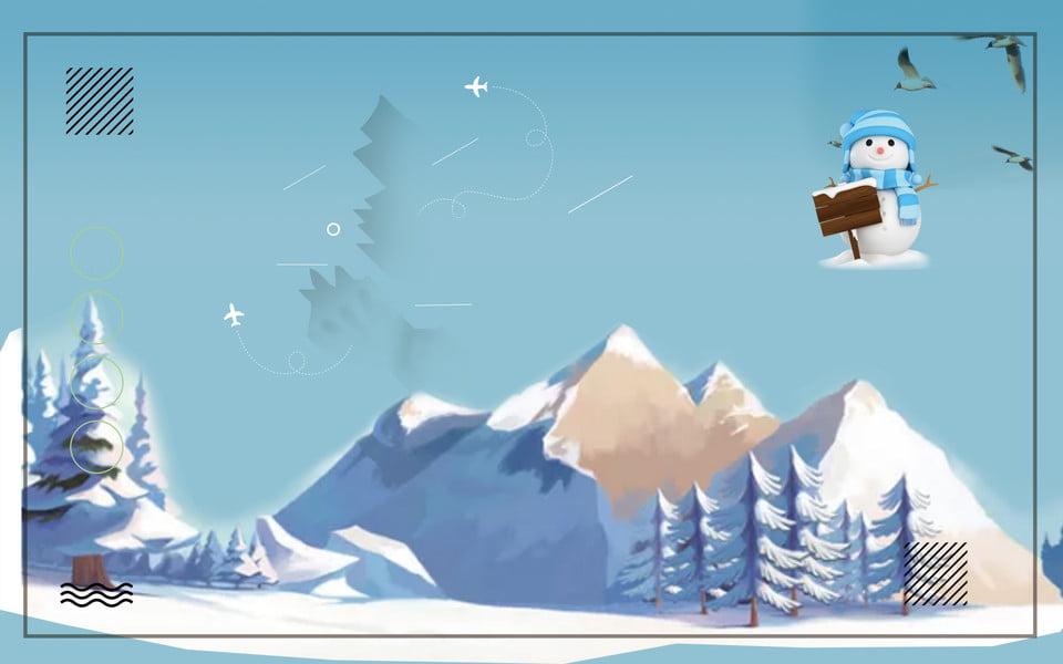 無料ダウンロードのための冬の雪山冬景色家屋のイラスト素材 雪山 冬素材