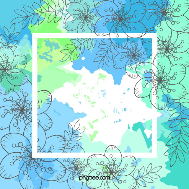 Mint Green Watercolor Blue Flowers Background Material Mint Green Blue Background Image For Free Download