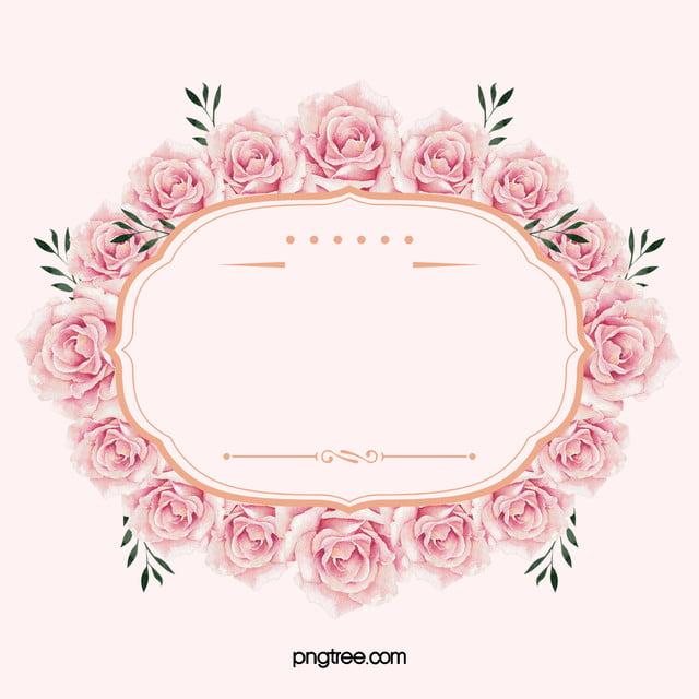 Pink Floral Border Background Material Pink Flowers Frame