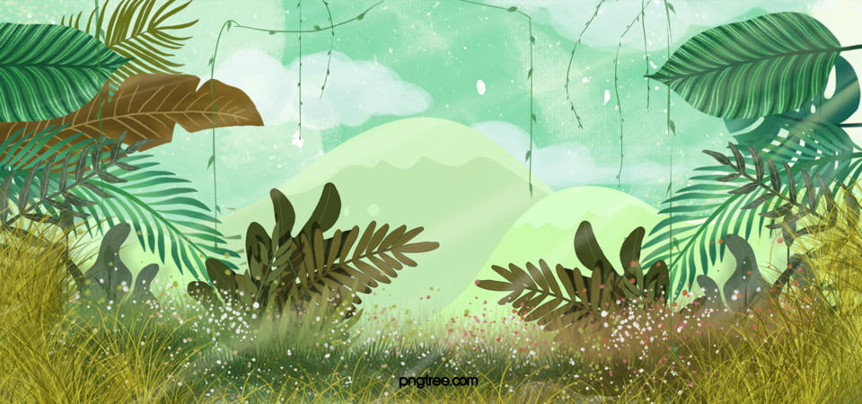 Minimalist Cartoon Style Jungle Adventure Banner Outdoors Background Image