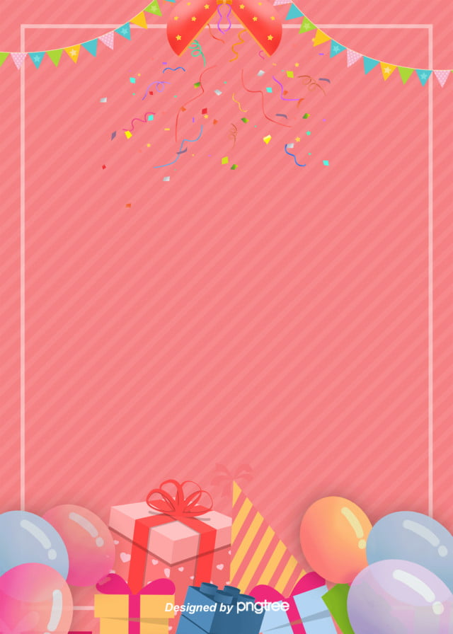 Simple Fashion Cartoon Birthday Party Poster Background