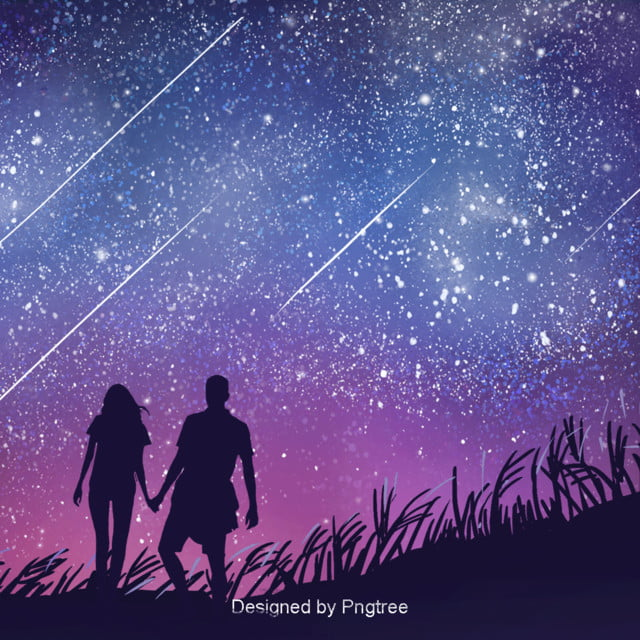 Background Design Of Aesthetic Star Couple Walking, Lovers