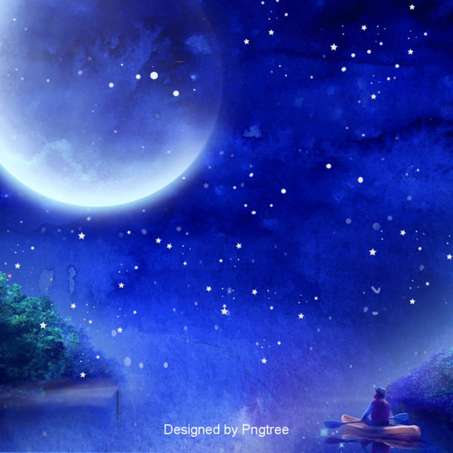 Blue Aesthetic Moon Star Background Design, Boat, Stars
