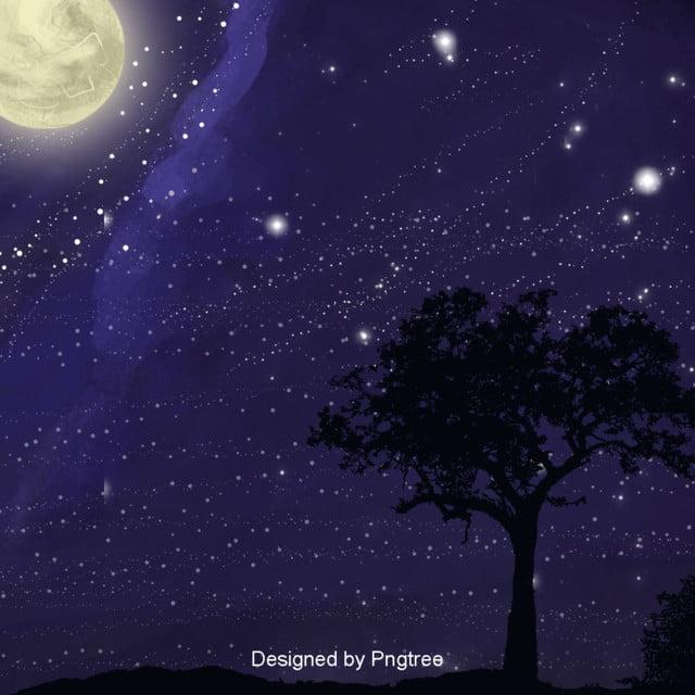 PC wallpapers Winter, night, moon, stars, night sky