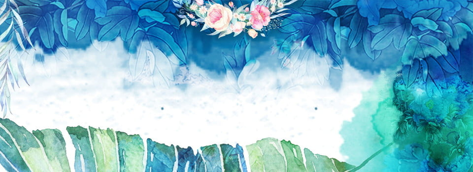 Literary Summer Style Blue Flower, Watercolor, Aesthetic