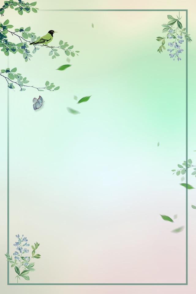 Bunga Berwarna Hijau Dicat Burung Segar Cat Air Daun Hijau Hijau