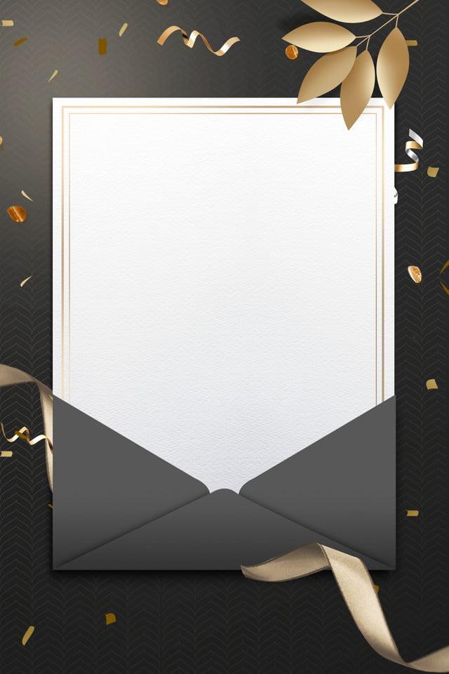 Black Invitation Card Simple Stationery Gold Ribbon