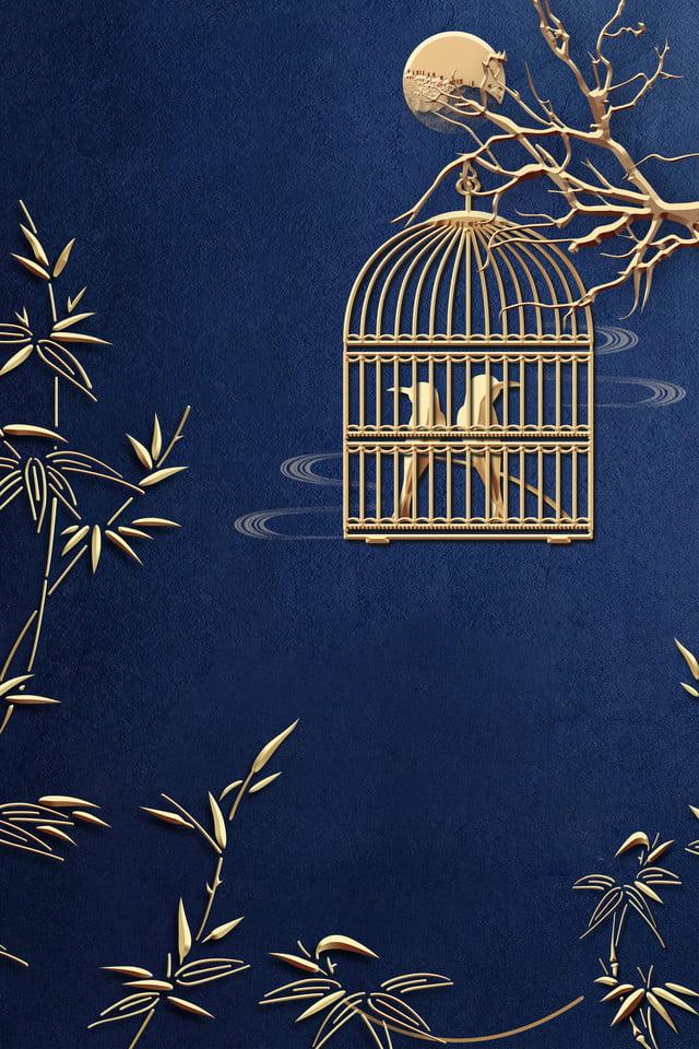 Gambar Sangkar Burung Buluh Cina Biru Baru Latar Belakang Biru Pegangan Logam Emas Latar Belakang Untuk Muat Turun Percuma