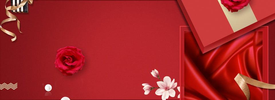 Boutique Gift Box Rose Red Silk Golden Ribbon, Silk, Banner
