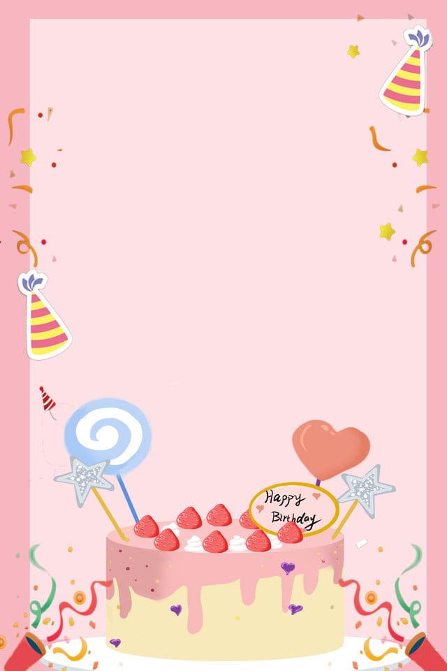 Fundo De Publicidade De Rosa De Bolo De Aniversario Dos Desenhos