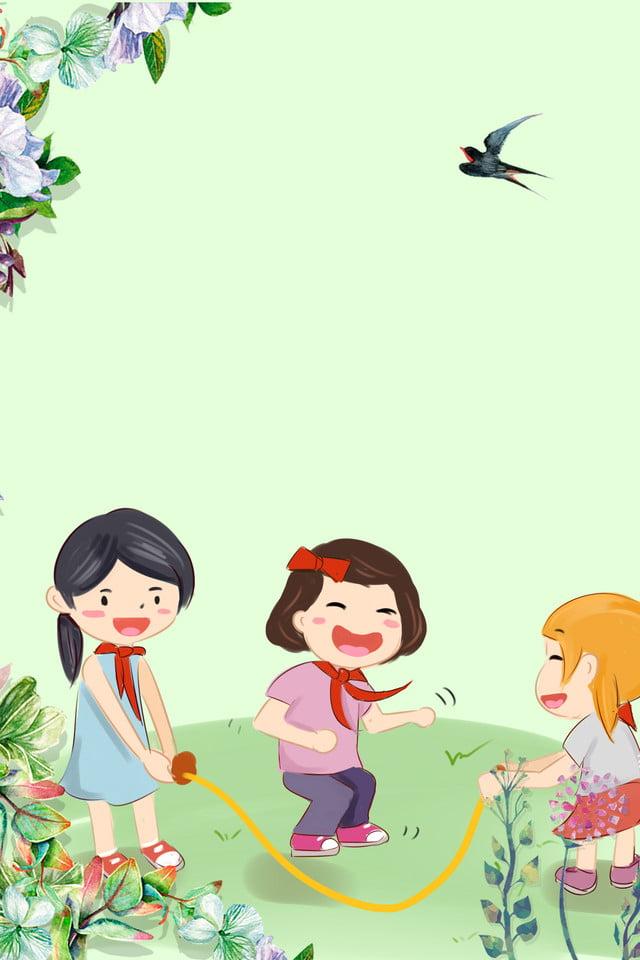 Día De Primavera Niños Saltando La Cuerda Dibujos Animados Fresco