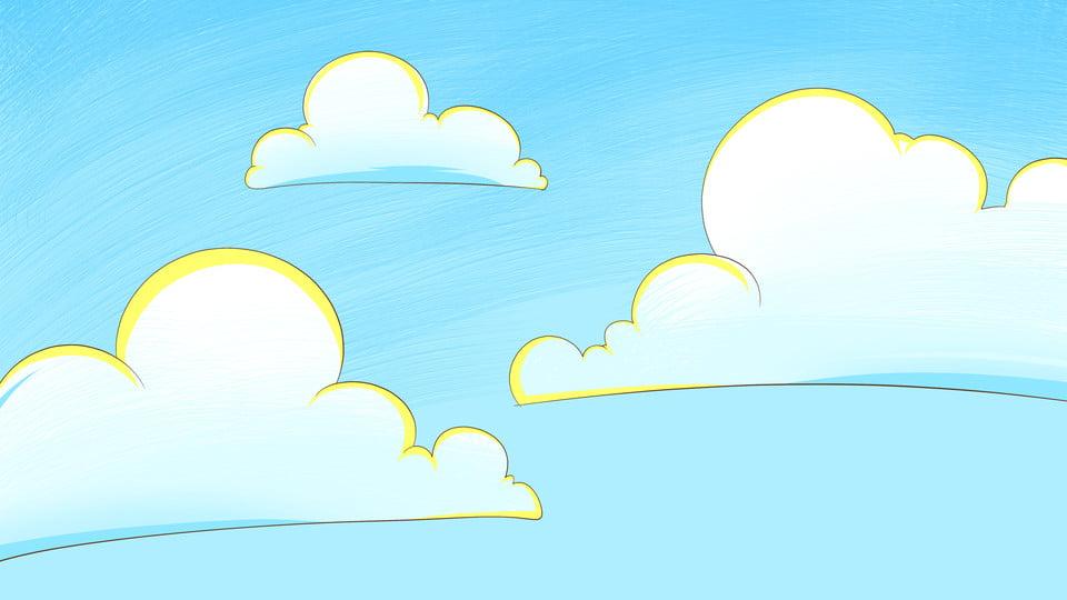 Desenhos Animados Mao Desenhada Ceu Azul Nuvens Brancas Fundo Do