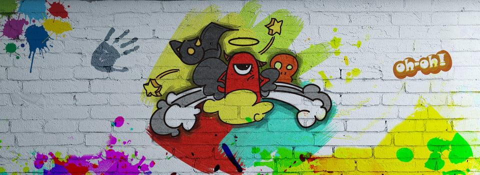 Cartoon Hip Hop Photo Wall Wall Painting Color Wall Painting Hand
