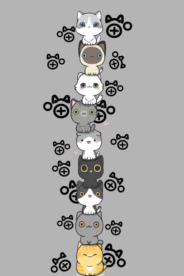 Cartoon Lovely Cat Gray Simple Wallpaper Hand Painted