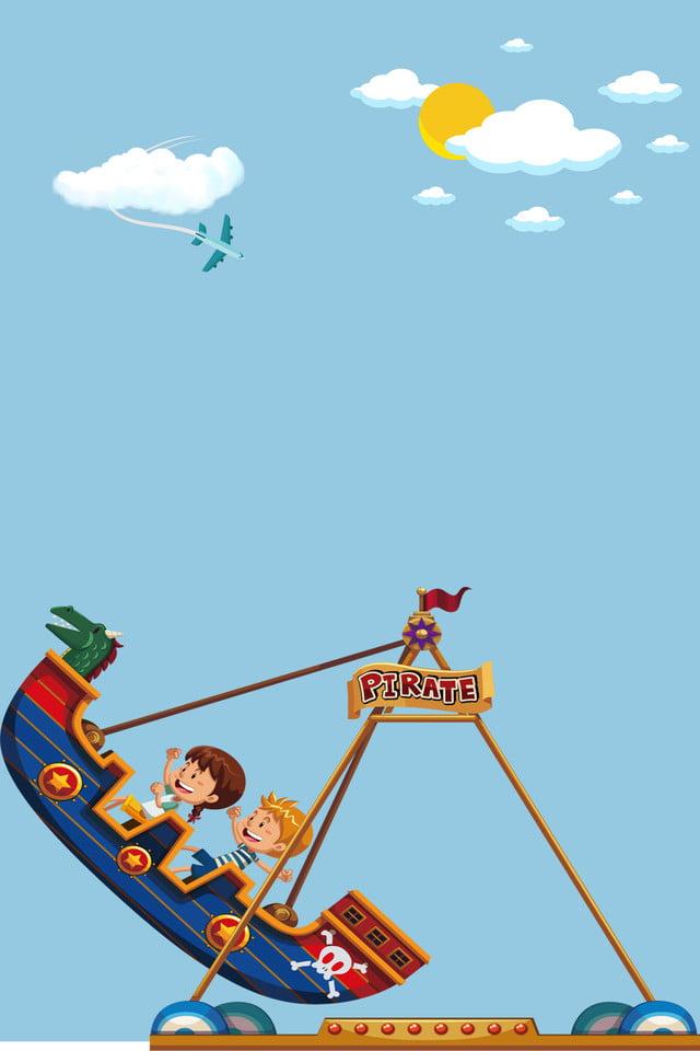 أطفال سفينة القراصنة طائرة سحابة شمس ملاهي كرتون صورة الخلفية للتحميل مجانا