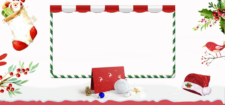 Christmas Literary Fresh Simple Christmas Hat Sock Flowers And