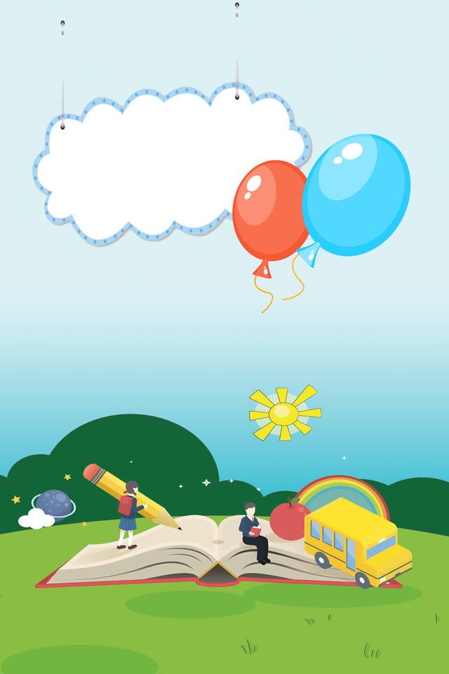 Fondo Creativo De La Escuela De Dibujos Animados De Color