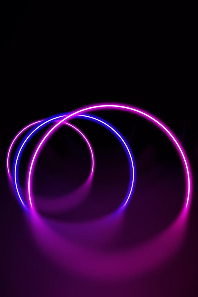 Cool Neon Illuminated Lines Stereoscopic Black Background Sense Of