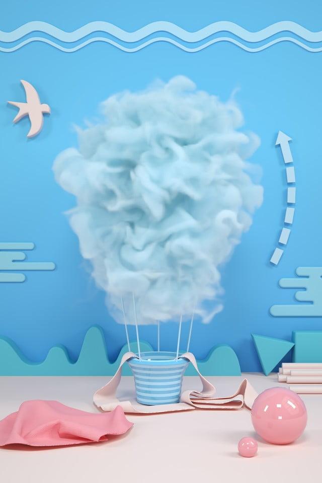 Scena Blu Con Fumo Azzurro Creativo Rendering Di Fumo Scena C4d