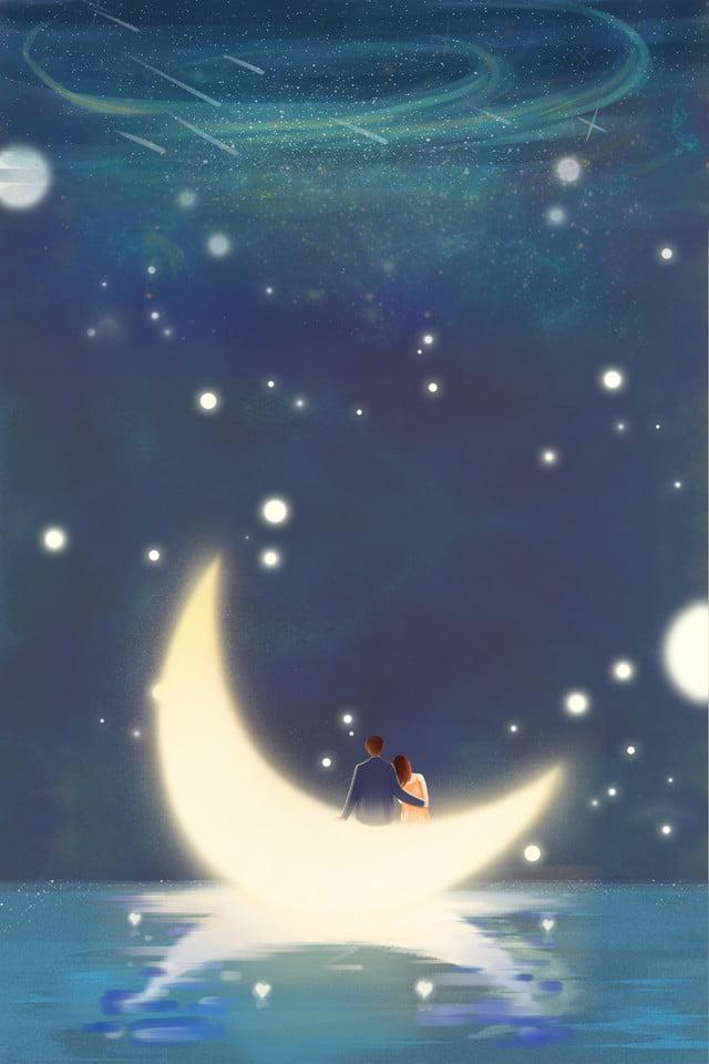 Giấc Mơ Minh Họa Phong Cách Cặp đôi Tình Yêu, đêm, Bầu Trời đầy Sao, Mặt Trăng Hình nền Vector để tải xuống miễn phí