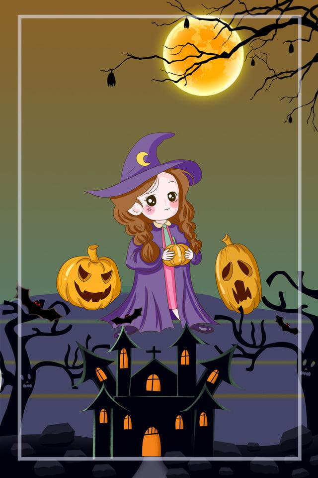 Sorciere Peinte A La Main Theme Halloween Theme Maison Hantee