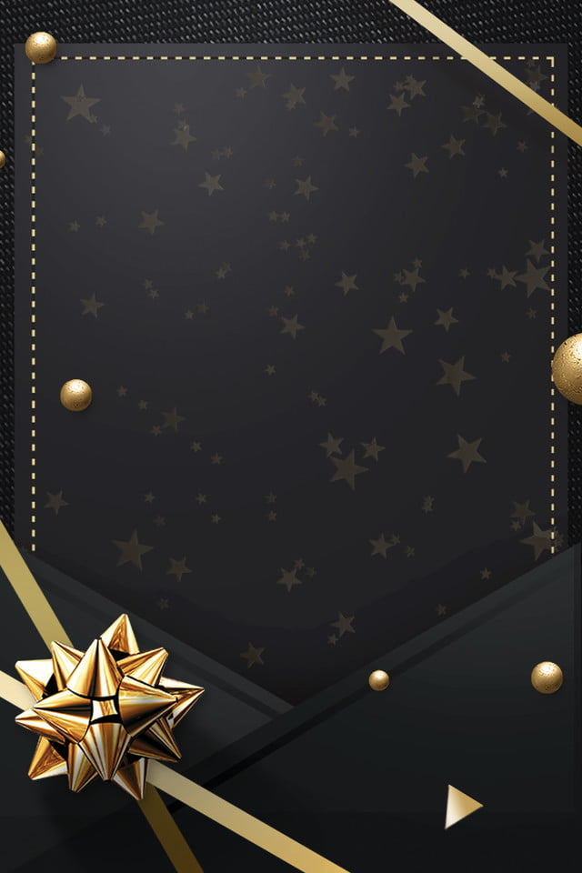 invitation card black gold simple ribbon texture frame