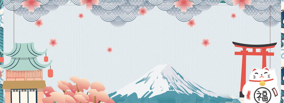 Japanese Style Zephyr Romantic Japan Lucky Cat Cherry Blossoms Mount Fuji Background Image For Free Download