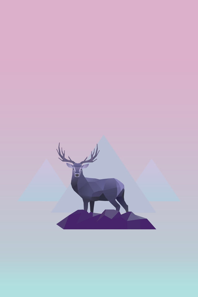 Low Poly Style Elk, Gradient, Powder Blue, Low Multilateral