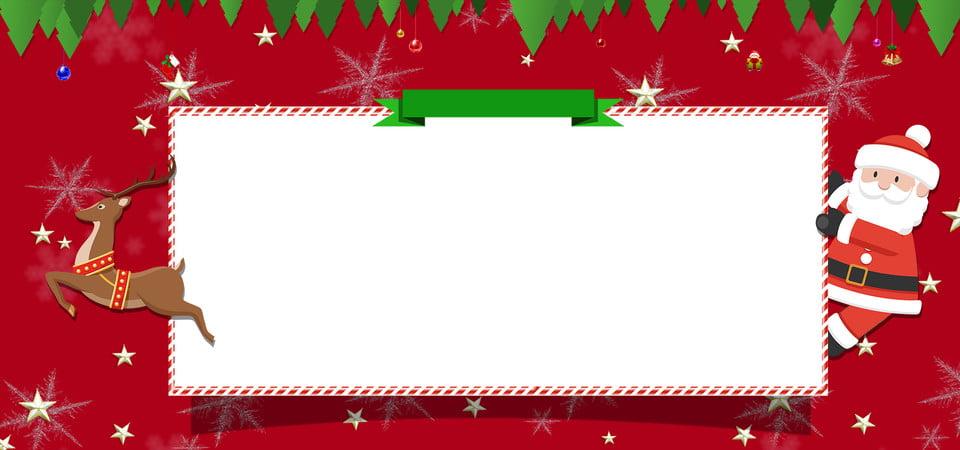 Bannière De Dessin Animé Joyeux Noël Carte Mignon Rouge