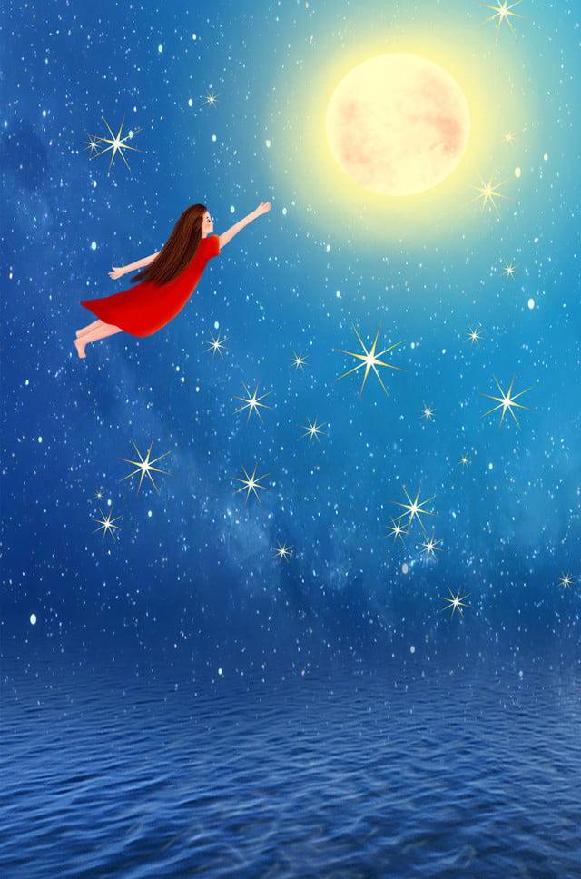 真夏の夜の夢月明かりの夜シンプルなナイトスターブルー広告の背景 真夏の夜の夢 満月 夜 単純な 夜景 星 ブルー 広告宣伝 バックグラウンド, 真夏の夜の夢, 満月, 夜