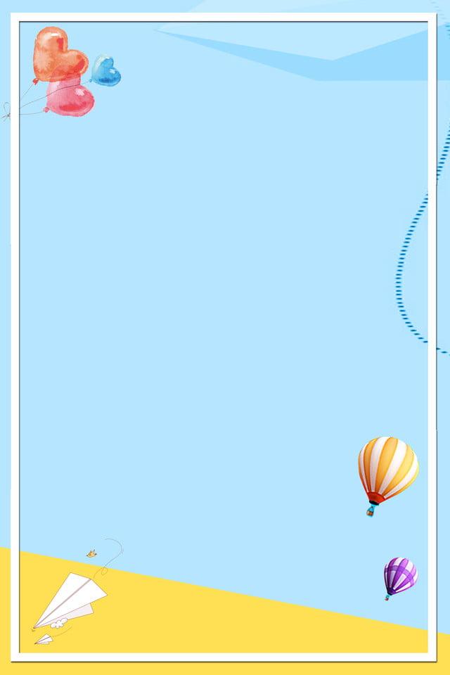 Paper Plane Hot Air Balloon Love Blue, Simple, Gradient