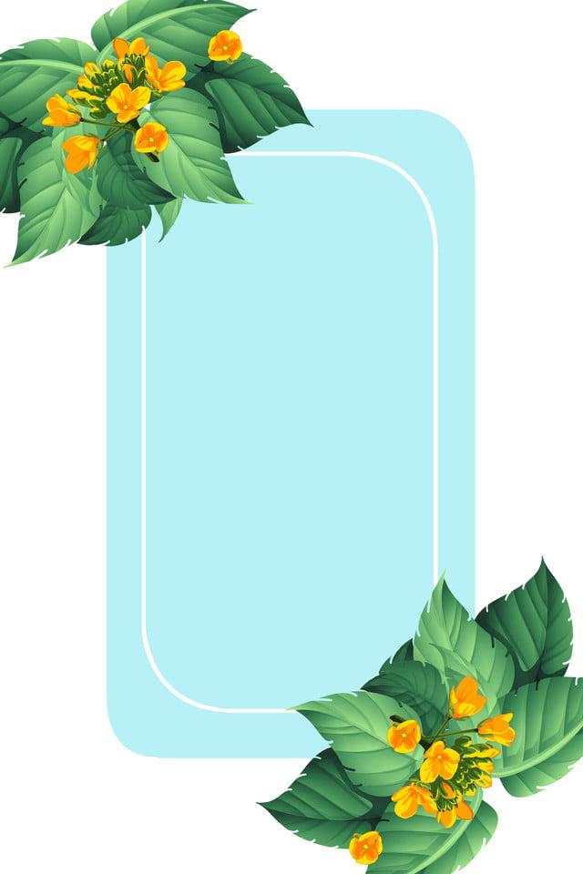 Fiori Gialli Estivi.Pianta Fresca Foglia Verde Poster Estivo Impianto Verde Foglia