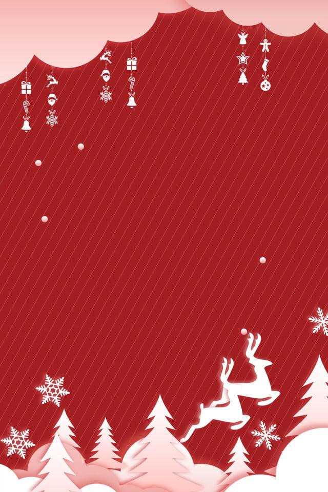 Natale Origami Wind Poster Sintetico Sfondo Rosso Semplice Vento Di