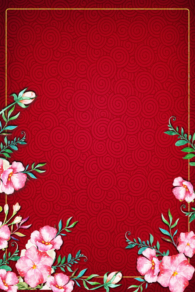 simple pattern china red floral border cosmetic clothing