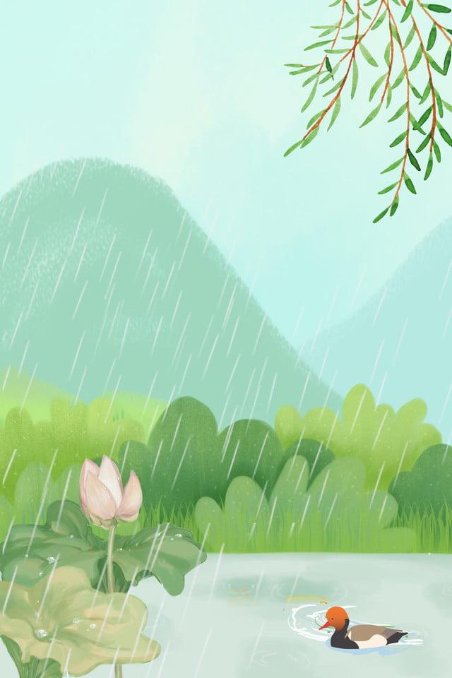Caricature Simple Fond De Saison De Pluie Simple Pluie Il