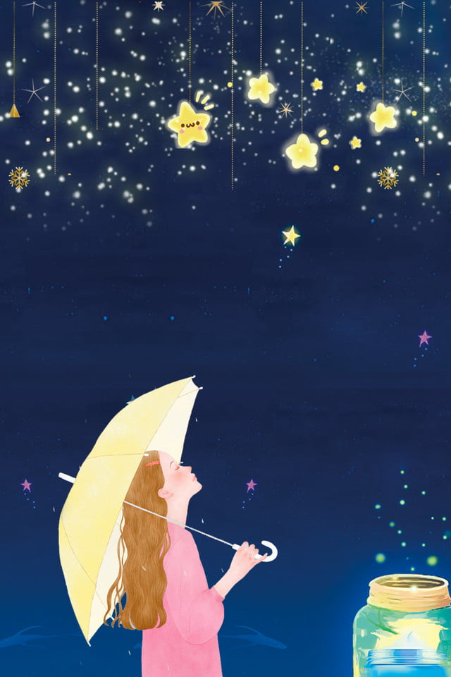 Simple Teenage Girl Girl Starry Sky, Moon, Star, Wishing Bottle Background  Image for Free Download