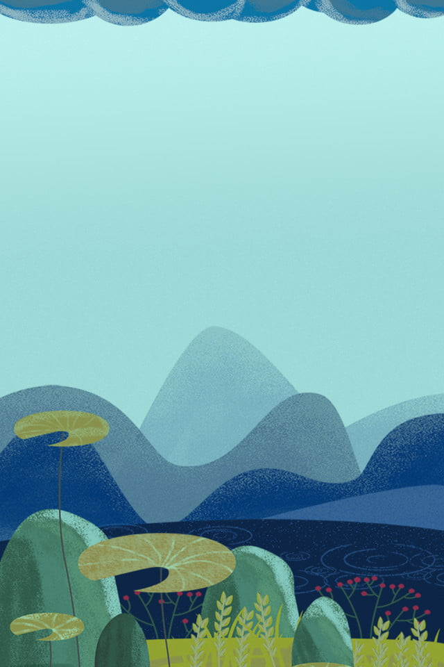 Lotus Créatif Dessinés à La Main Simple Fond Tiffany Bleu