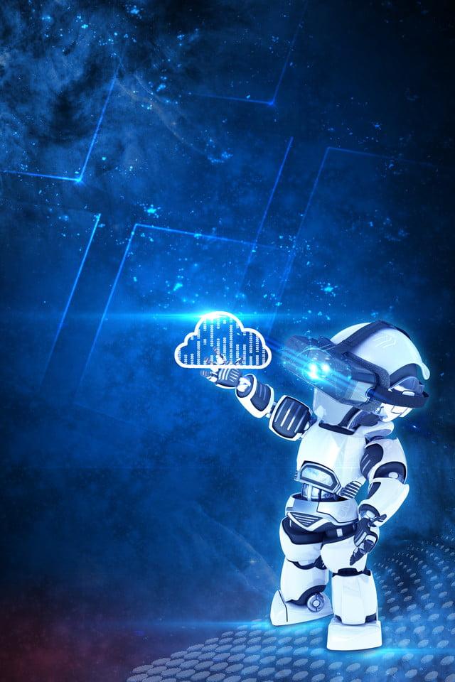 Technology Robot Robot Background Cloud, Data, Blue ...