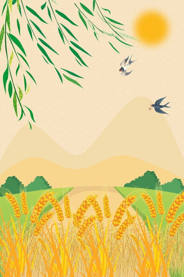 Yellow Cartoon Leaves Sun Wheat Ears Background Swallow Sun
