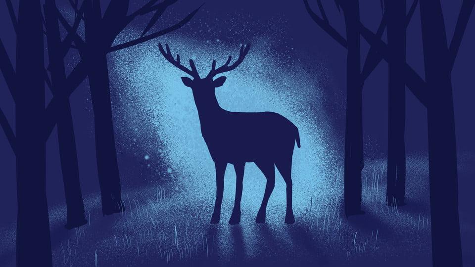 Latar Belakang Kartun Rusa Besar Di Hutan Malam, Malam, Hutan, Rusa Besar  Gambar Latar Belakang Untuk Unduhan Gratis