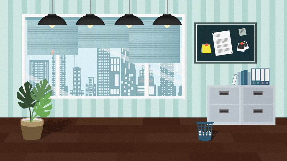 Business Office Fresh Cartoon Background Design Business Office