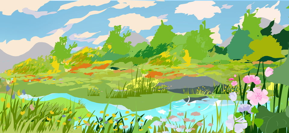 u00c9tang color u00e9 dessin anim u00e9 arbres ciel illustration fond