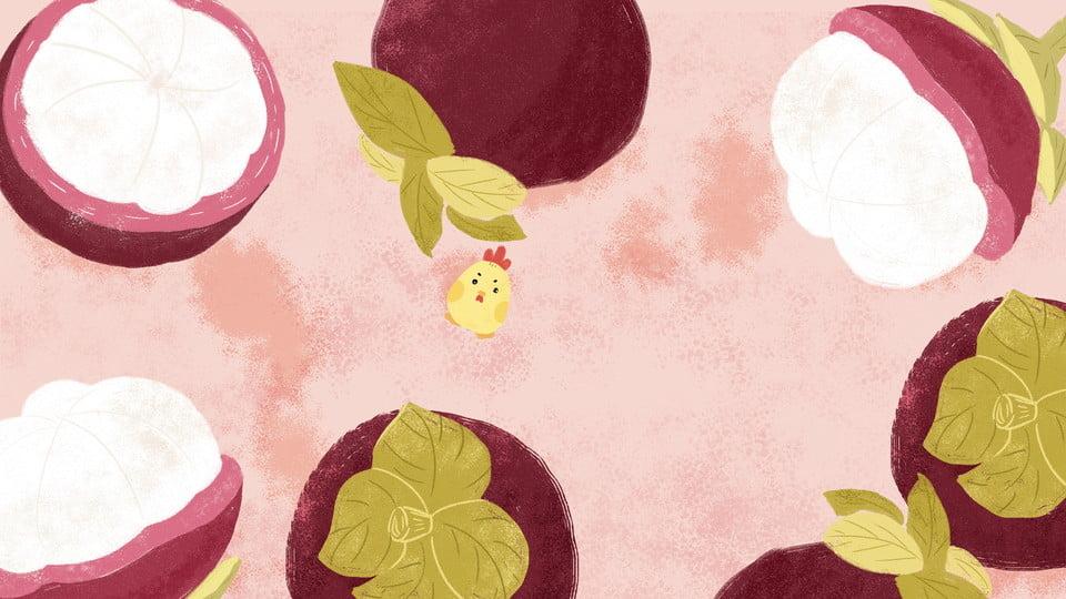 Cartoon Cute Mangosteen Fruit Background Design, Lovely