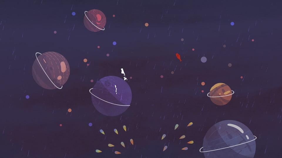 Cartoon Night Sky Planet Universe Minimalistic Background ...