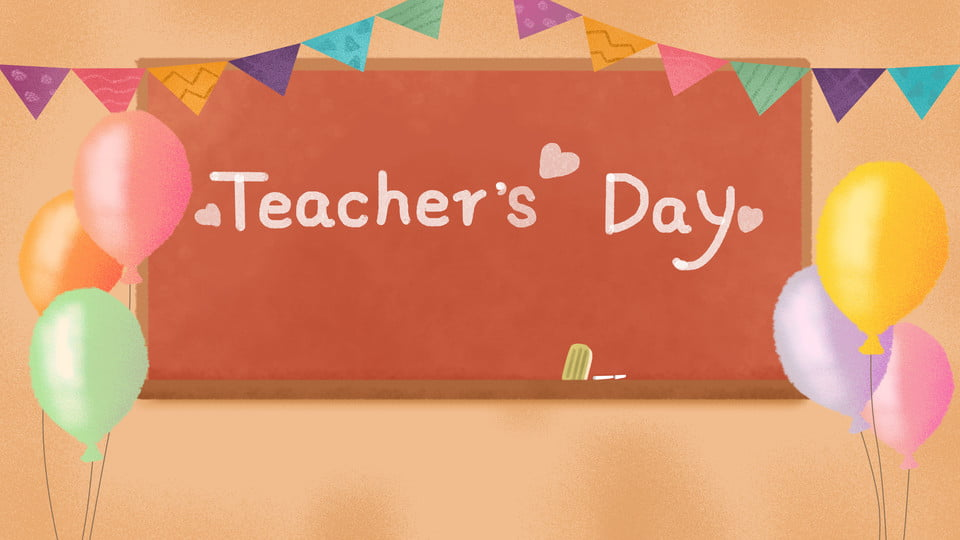 Classroom Blackboard Balloon Bunting Teachers Day Celebration