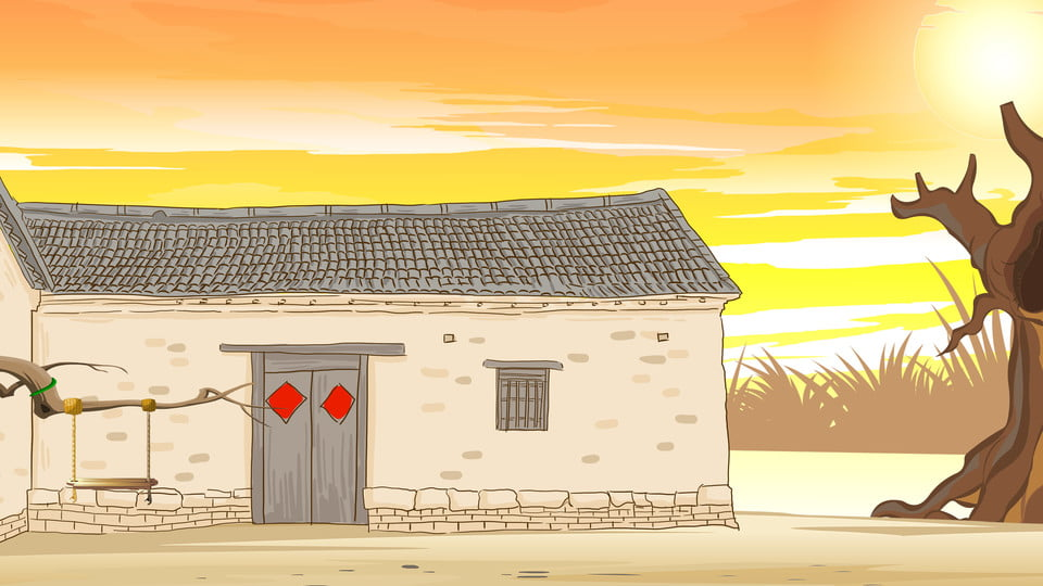 Country Cottage Cartoon Background Rural Cabin Trees Background Image For Free Download