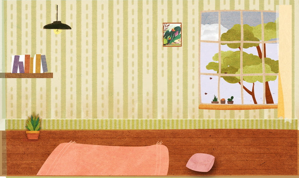 Cute Hand Drawn Furniture Bedroom Background Design Background