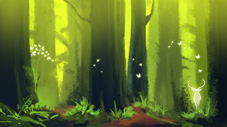 Fantasy Glowing Woods Background Material Illuminate Forest Forest Tree Background Image For Free Download