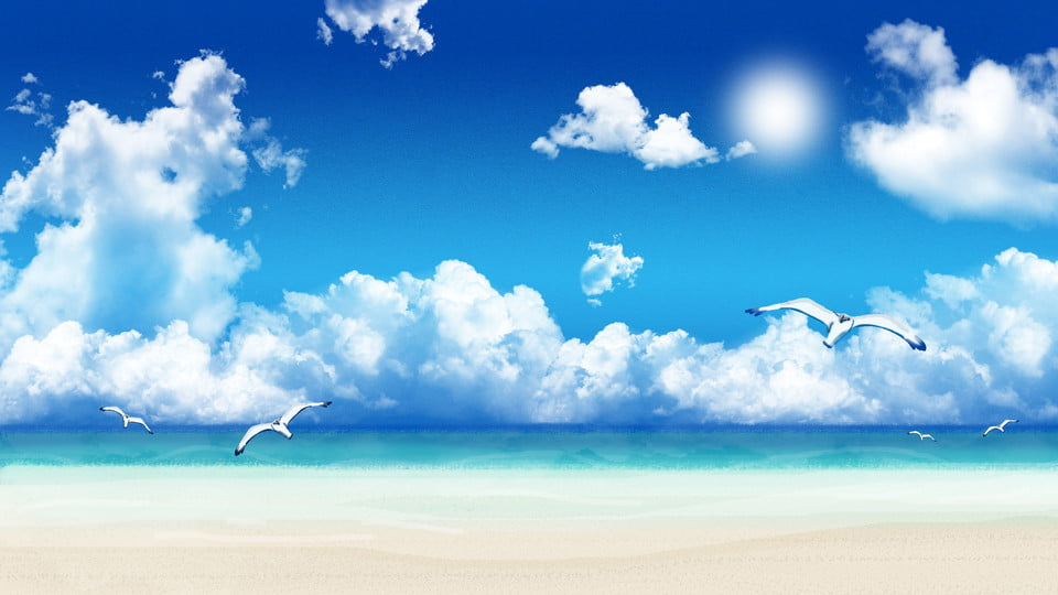 Flying Birds Cartoon Background Over Blue Ocean Under Sky Under The Blue Sky Blue Ocean Over The Sky Background Image For Free Download