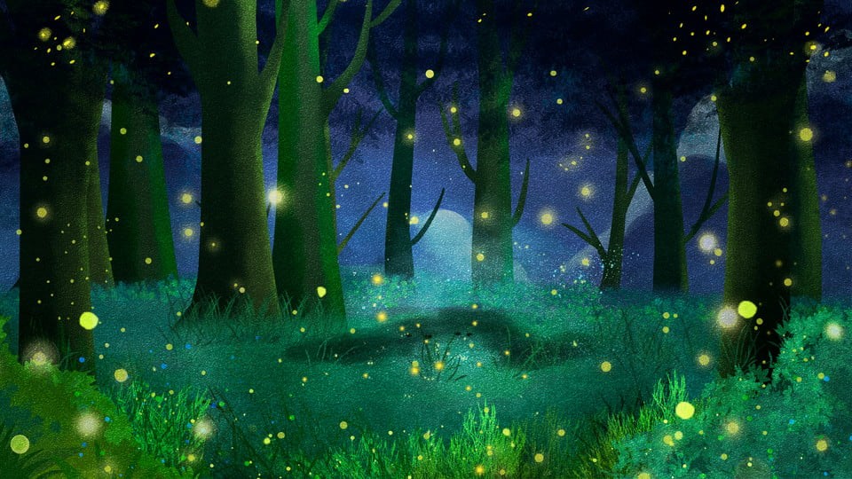 Forest Firefly Advertising Background Romantic Forest Hand Painted Background Image For Free Download